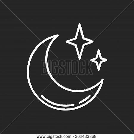 Clear Night Sky Chalk White Icon On Black Background. Meteorology, Weather Forecasting Science. Sky