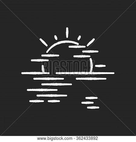 Sea Haze Chalk White Icon On Black Background. Morning Fog, Meteorological Forecast, Misty Weather.