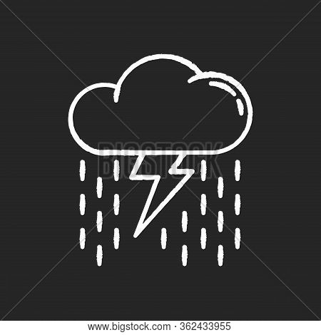 Heavy Showers Chalk White Icon On Black Background. Weather Prediction, Meteo Forecast. Strong Rains