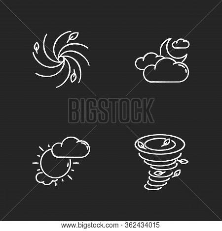 Meteorological Warning Chalk White Icons Set On Black Background. Bad Weather Forecast, Prediction.