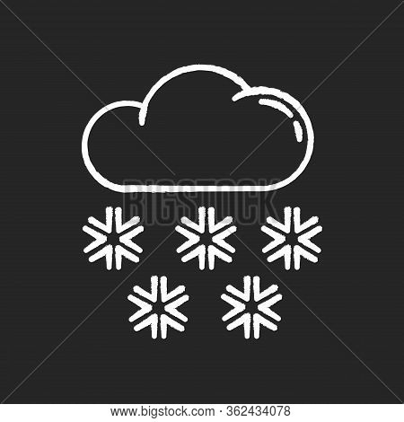 Snow Chalk White Icon On Black Background. Meteorological Forecast, Wintertime Weather Forecast. Sea