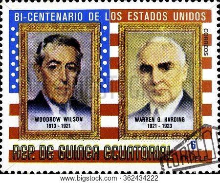 02 10 2020 Divnoe Stavropol Territory Russia Postage Stamp Equatorial Guinea 1975 The 200th Annivers