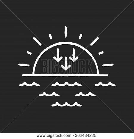 Sunset Chalk White Icon On Black Background. Evening, Sundown, Weather Forecasting. Sea, Ocean At Du