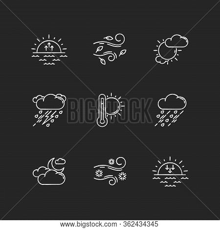 Weather Forecast Chalk White Icons Set On Black Background. Sky Condition And Temperature Prediction