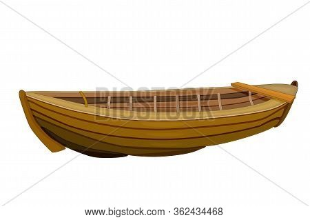 Wooden Boat Isolated On White Background. Empty Brown Fishing Boat Side View. Hobby And Fishery, Fis