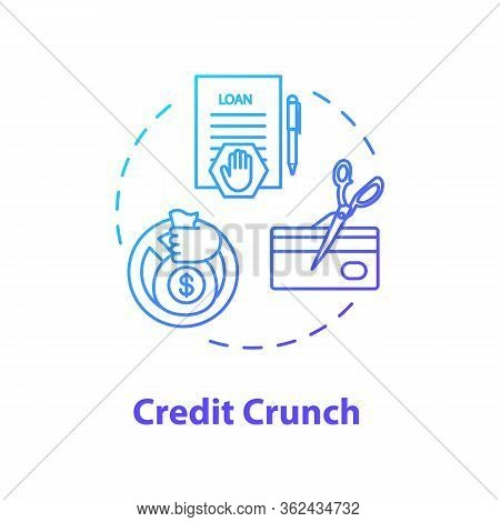 Credit Crunch Concept Icon. Banking Crisis, Financial Issue Idea Thin Line Illustration. Money Loan
