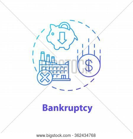 Bankruptcy Concept Icon. Business Collapse, Corporate Crisis Idea Thin Line Illustration. Legal Enti