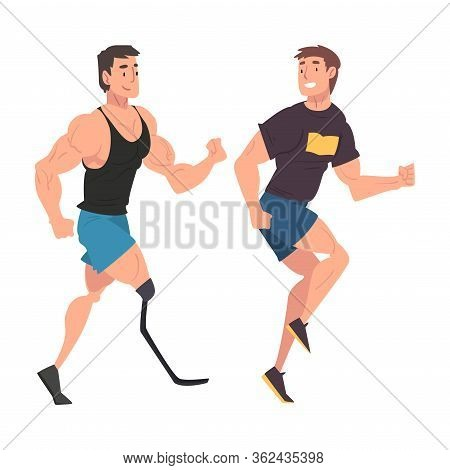 Disabled Man Running With His Friend, Handicapped Man Doing Sports And Having Good Time, Person Enjo