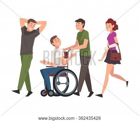 Disabled Man In Wheelchair Walking With Friends, Handicapped Man Receiving Support And Having Good T