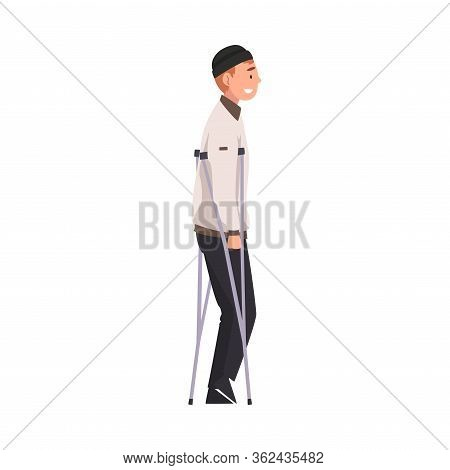 Cheerful Handicapped Man Walking On Crutches Vector Illustration