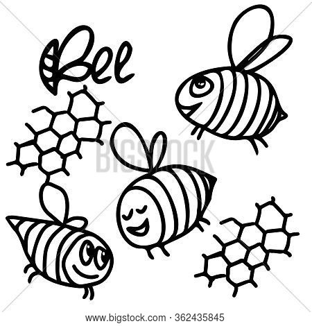 Close-up Black-white Drawing Of Flying Bees. Doodle Drawing. Inscription Bee. Bee Honeycombs. Vector