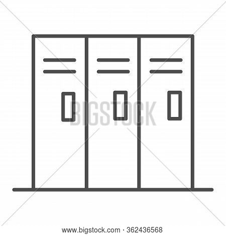 Sport Lockers Thin Line Icon. Locker Or Cabinet For Gym Or Stadium Illustration Isolated On White. T