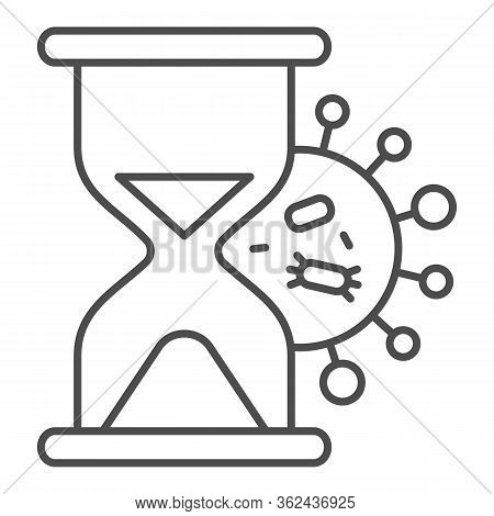 Coronavirus Bacteria And Hourglass Thin Line Icon. Rapid Spread Of Virus Outline Style Pictogram On