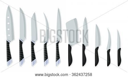 Set of butcher meat knives for design butcher themes. Different kind of knives for chefs, knife icon for butcher shop. Cutlery icon set - realistic kitchen knives isolated