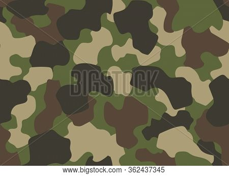 Camouflage seamless pattern. Abstract military or hunting camouflage background. Classic clothing style masking camo repeat print. Green brown black olive colors forest texture camouflage