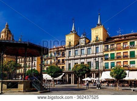 Segovia, Spain  - 09 October 2016: Plaza Mayor In Segovia. Castile And Leon, Spain.