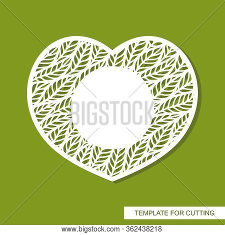 Vector Card In The Shape Of A Heart With A Pattern Of Leaves And Copy Space (place For Text) In The