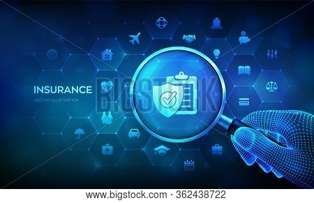 Insurance Services Concept With Magnifier In Hand. Car, Travel, Family And Life, Real Estate, Financ