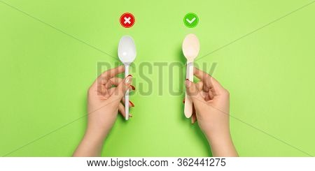 Spoons. Eco-friendly Life - Organic Made Recycle Things In Compare With Polymers, Plastics Analogues