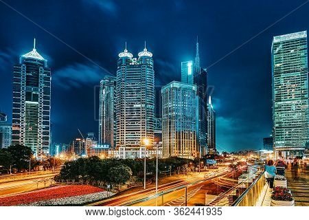 Shanghai, China- May 24,2015: Night View Skyscrapers, City Building Of Pudong, Shanghai, China.