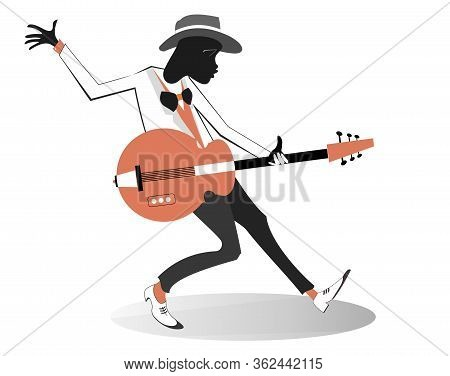 Afro-american Guitarist Illustration. Afro-american Musician Is Playing Guitar With Inspiration Isol