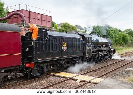 Appleby, England - August 27:  Steam Train 45690, Leander, Takes On Water At Appleby In Cumbria, Eng