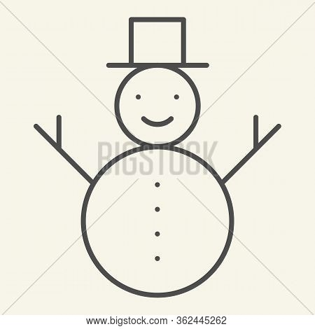Snowman Thin Line Icon. Happy Winter Snowman With Hat And Scarf Outline Style Pictogram On White Bac