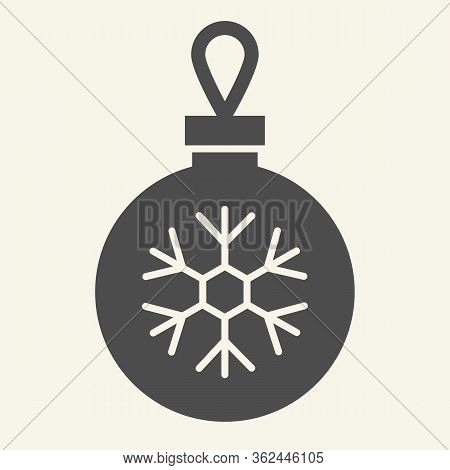 Christmas Ball Solid Icon. Glass Tree Toy With Snowflake Glyph Style Pictogram On White Background.