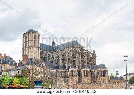 LE MANS, FRANCE - April 28, 2018: Le Mans Cathedral in Le Mans, France