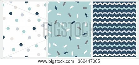 Marine Style Seamless Vector Patterns With Chevron, Dots And Short Lines Isolated On A White, Mint B