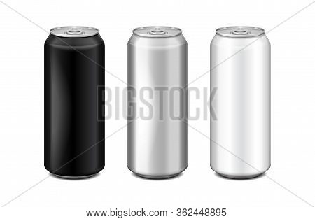 Glossy Metal Silver, White And Black Aluminium Beer Can. Can Be Used For Alcohol, Energy Drink, Soft