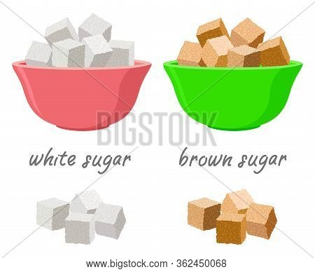 Vector Sugar Cubes In Sugar Bowls And In Piles. Set Of White And Brown Sugar Cubes And Text. Sweet F