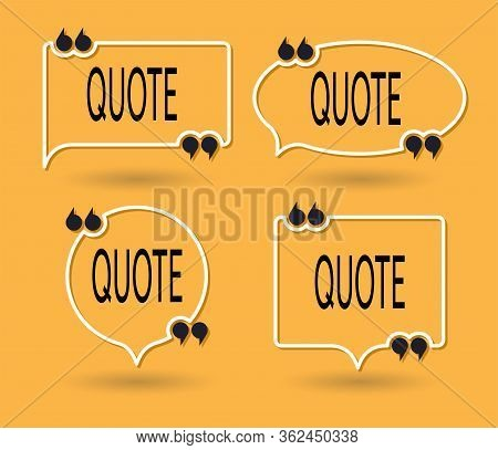 Vector Collection Of Quote Forms For Talk Message, Speech Remark Or Comment. Thin White Line Text Qu