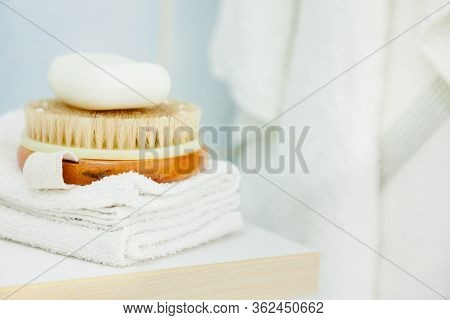 Objects For Personal Hygiene. Clean Towel, Brush And Soap For Cleaning. Bath, Shower Accessories Con
