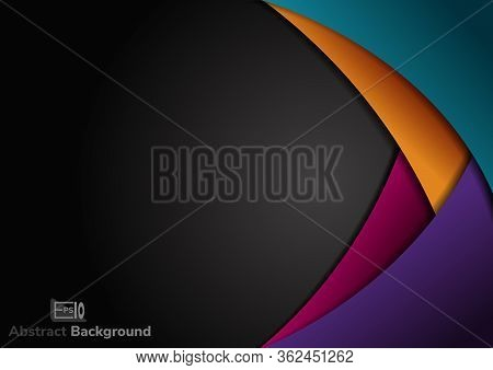 Abstract Colorful  Curve Circle Layer Overlapping On Black Background. Vector Illustration