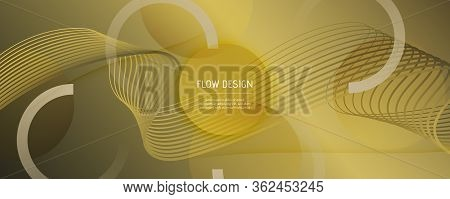 Abstract Vector Curve. Yellow Gradient Movement. 3d Fluid Lines. Creative Brochure. Golden Abstract