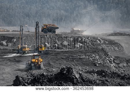 Preparation Boring Machines Of Site For Blasting, Mineral Exploration. Open Pit Mine Industry