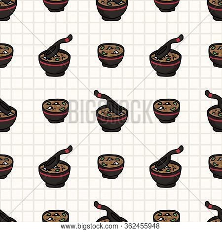 Kawaii Miso Soup Japanese Meal Seamless Vector Pattern. Hand Drawn Oriental Ramen With Nori And Tofu