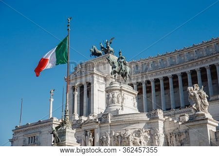 Monument Of Vittorio Emmanuel On Venice Square In Rome Italy, Blue Sky