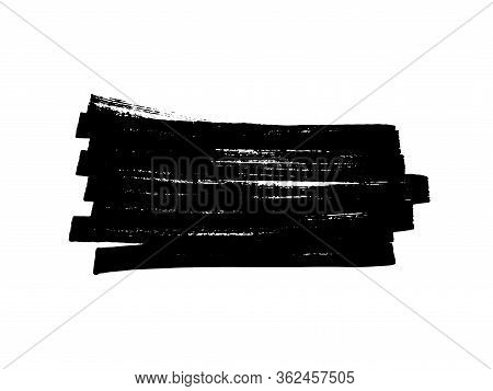 Black Stain Of Paint With Jagged Edges Isolated On A White Background. Hand-drawn Spot Of Paint, Ink