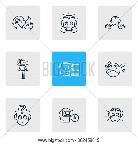 Vector Illustration Of 9 Emotions Icons Line Style. Editable Set Of Problem Solving, Anxious, Mind M