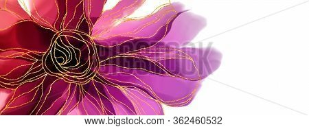 Freehand Drawing Watercolor, Alcohol Inks Flowers With Purple, Red And Pink, Gold On The White Backg