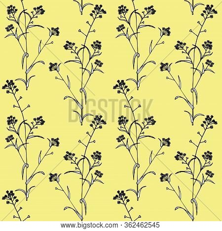 Delicate Twigs On Yellow Background. Vintage Seamless Pattern With Twig. Background For Eco Forest A