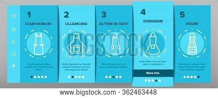 Apron Kitchen Cloth Onboarding Icons Set Vector. Kitchen Apron Protective Garment Different Style, C