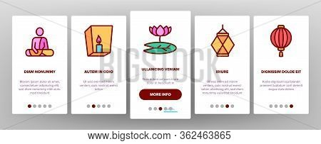 Vesak Day Buddhism Onboarding Icons Set Vector. Buddha Statue And Figure, Lotus Flower And Lantern,