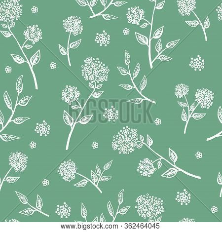 Delicate White Twigs On Green Background. Vintage Seamless Pattern With Twig. Background For Eco For