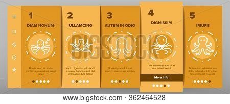 Octopus Ocean Mollusk Onboarding Icons Set Vector. Octopus Marine Sea Clam With Tentacles, Swimming
