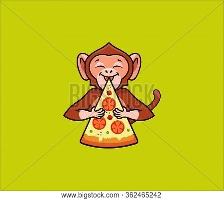 The Funny Monkey Eats Pizza, Logo. Satisfied Macaque Character, Food Logotype, Badge, Sticker, Emble