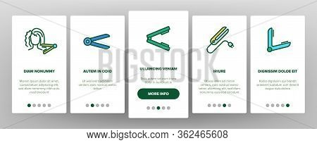 Flat Iron Equipment Onboarding Icons Set Vector. Flat Iron Hairdresser Device, Appliance For Beauty