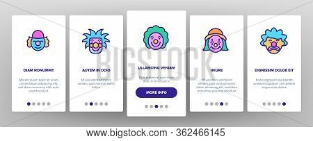 Clown Circus Character Onboarding Icons Set Vector. Happy Smiling And Unhappy Sad Different Mood Car